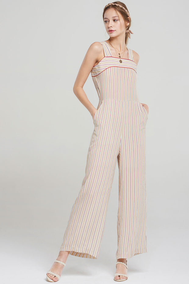 storets.com Jerry Striped Strap Jumpsuit-Beige