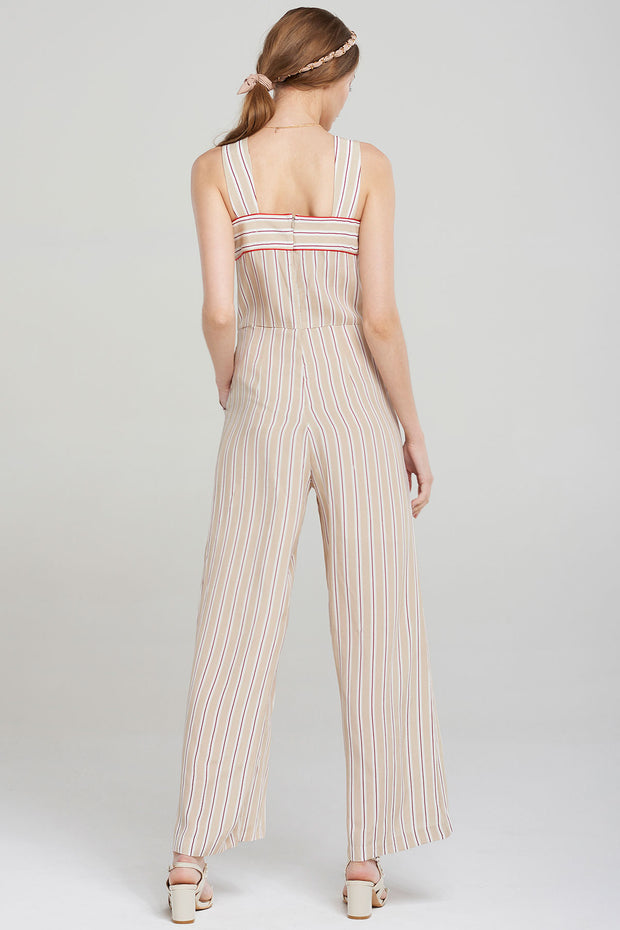 Jerry Striped Strap Jumpsuit-Beige