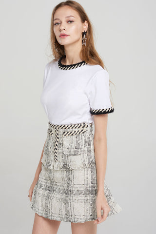 Arely Mini Top Skirt Two-piece Set-Ivory