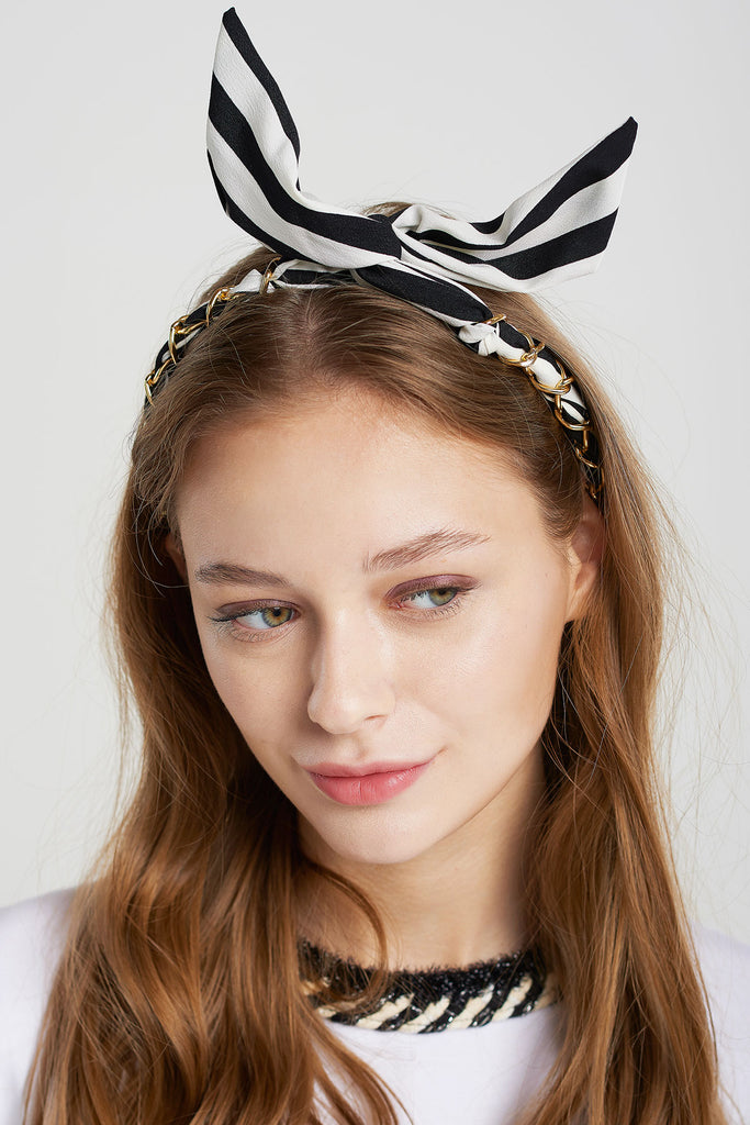 Chained Striped Hairband-White