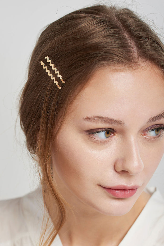 storets.com Waved Hairpin 2 Set-Gold