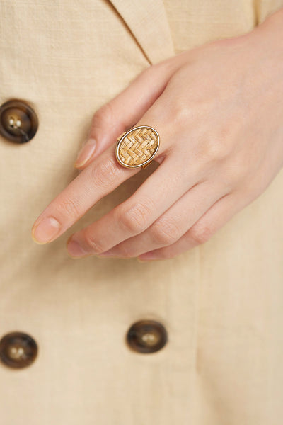 storets.com Weaved Oval Ring-Brown