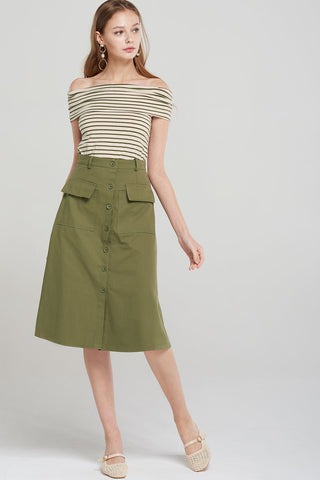 Aubrey Off Stripe Top Shorts 2-piece-Olive