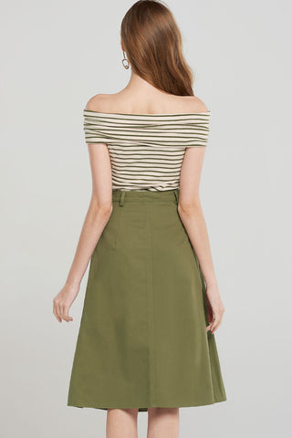 Aubrey Off Stripe Top Skirt 2-piece-Olive