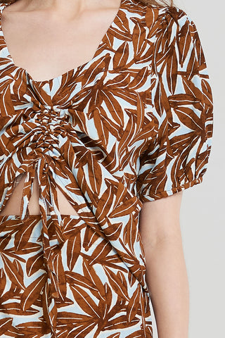 Natalie Leaf Pattern Blouse-Brown