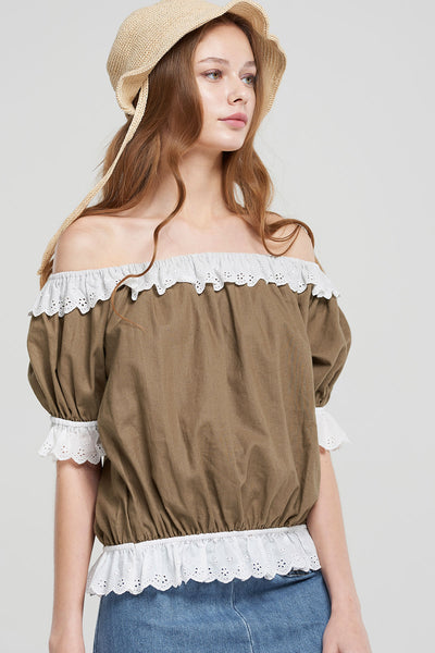 Carolyn Lace Frilled Lady Blouse-Brown