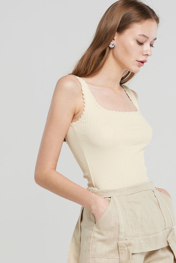Zoey Lace Inset RIbbed Top-Ivory