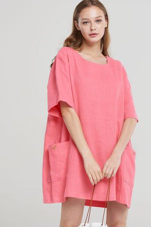 Giana Linen Side Pocket Dress-Pink