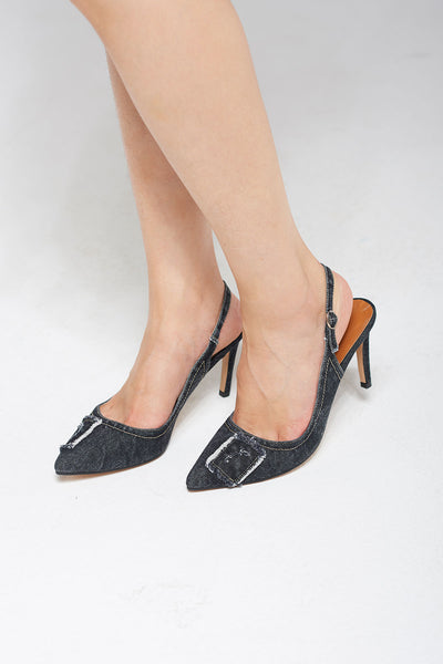 Denim Stiletto Heels-Gray