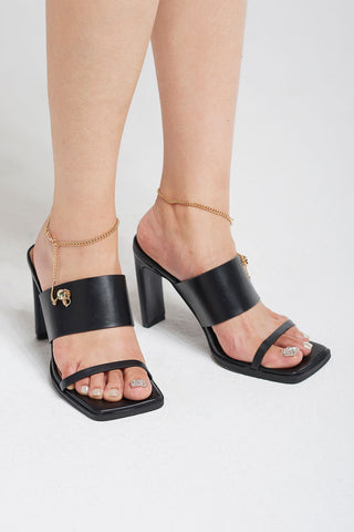 Chain Strap Square Toe Heels-Black