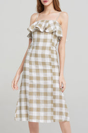 Grace Corset Check Dress-Beige