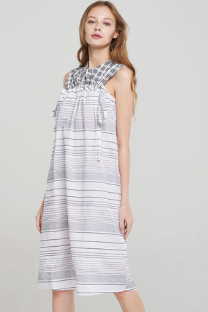 Maxin Check Stripe Sleeveless Dress-White