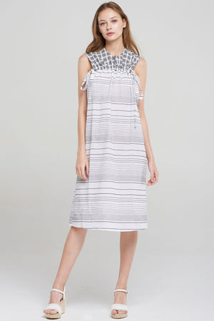 Maxin Check Stripe Sleeveless Dress