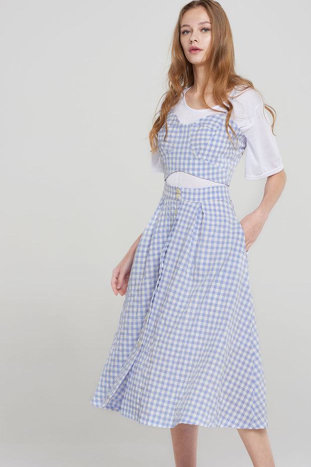 Nataly Gingham 2-piece Set-Blue