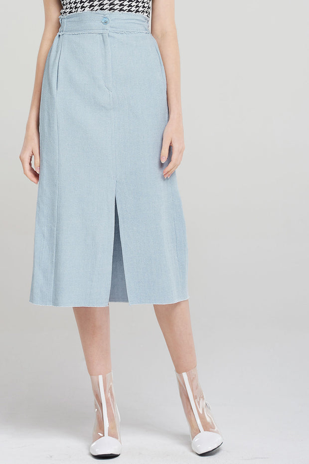 London Front Slit Linen Skirt-Skyblue