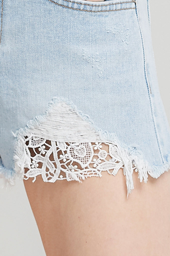 Charlotte Ripped Denim Shorts-Skyblue