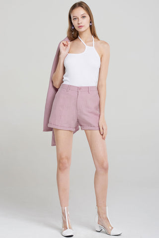 Sydney Purple Linen Shorts-Purple