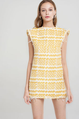 Kallie Yellow Tweed Dress-Yellow