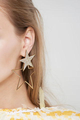 Large Double Star Earrings-Gold