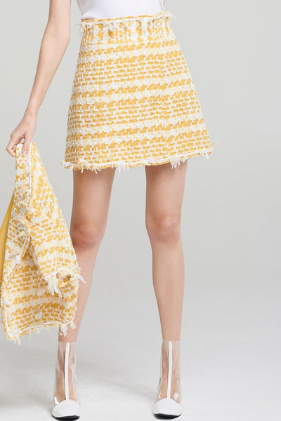 Kallie Yellow Tweed Skirt-Yellow