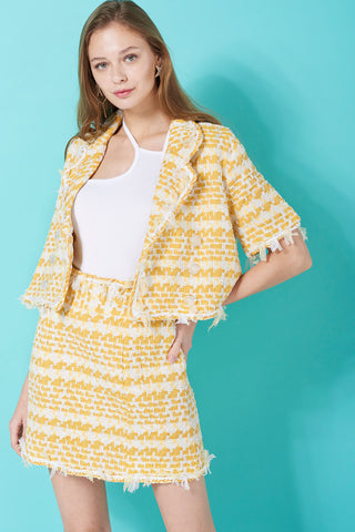 Kallie Yellow Tweed Jacket-Yellow