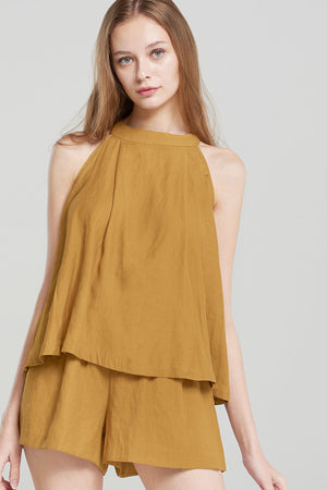 Ira Halter Sleeveless Hanging Top-Camel
