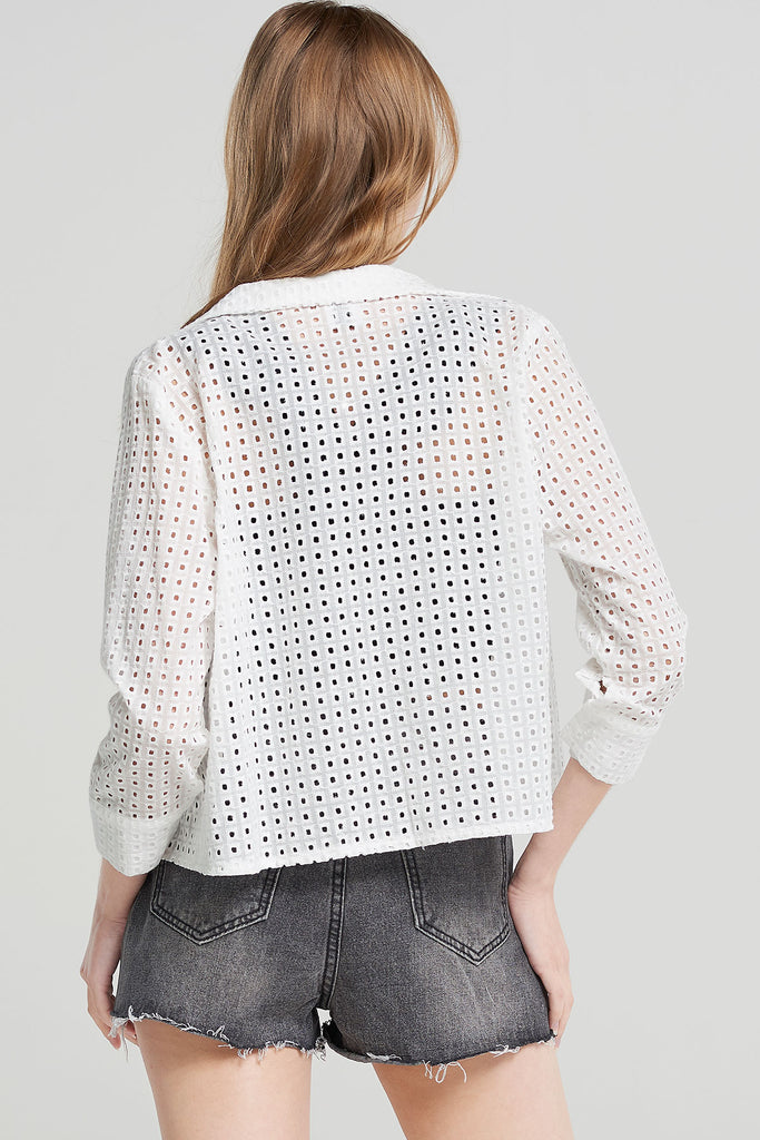 Lucy Punched Grid Jacket-White