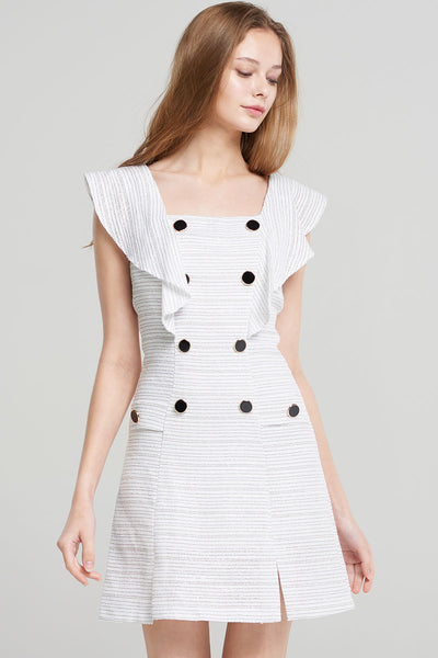 Kaylin Flutter Sleeve Button Dress-Ivory