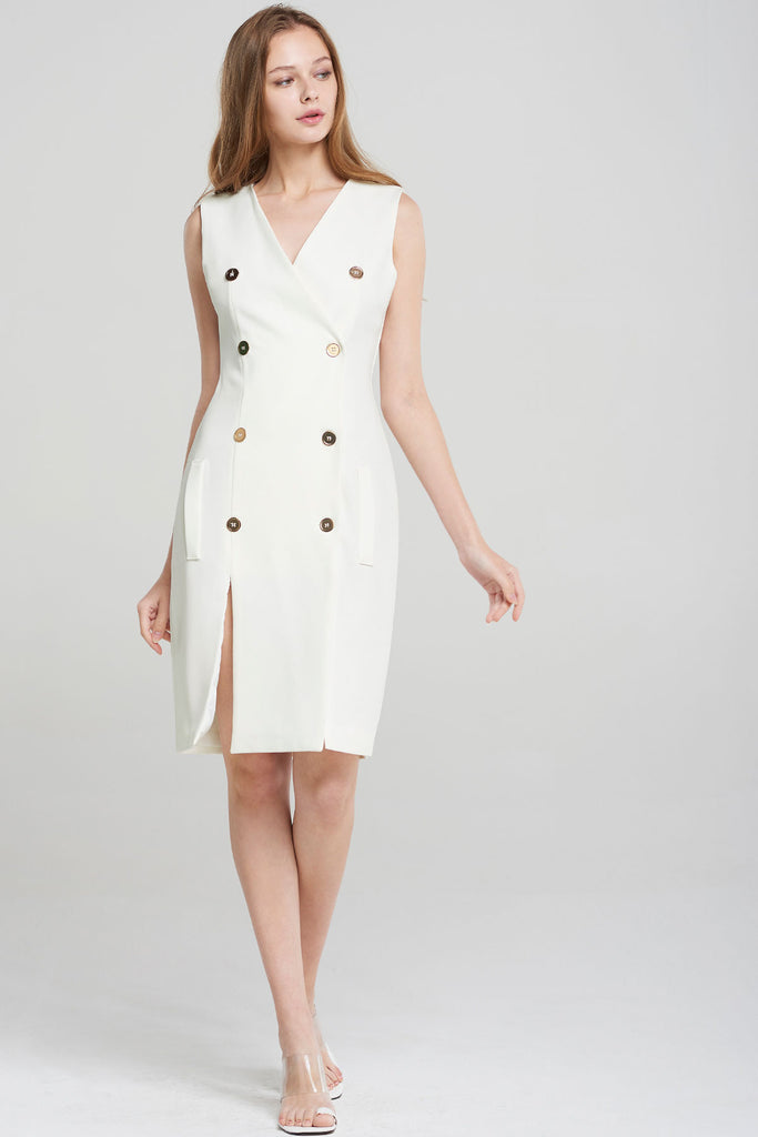 Vienna Double Breast Vest Dress-White