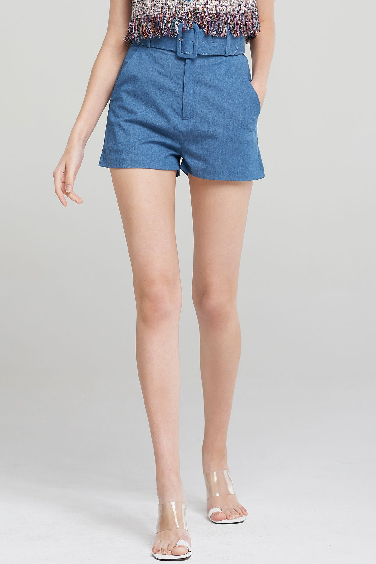 Teagan Wide Belt Shorts-Blue