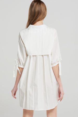 Carry Pleated Shirt Dress-White