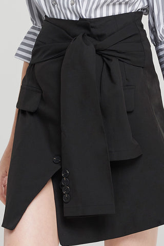 Chloe Front Tie Pencil Skirt-Black