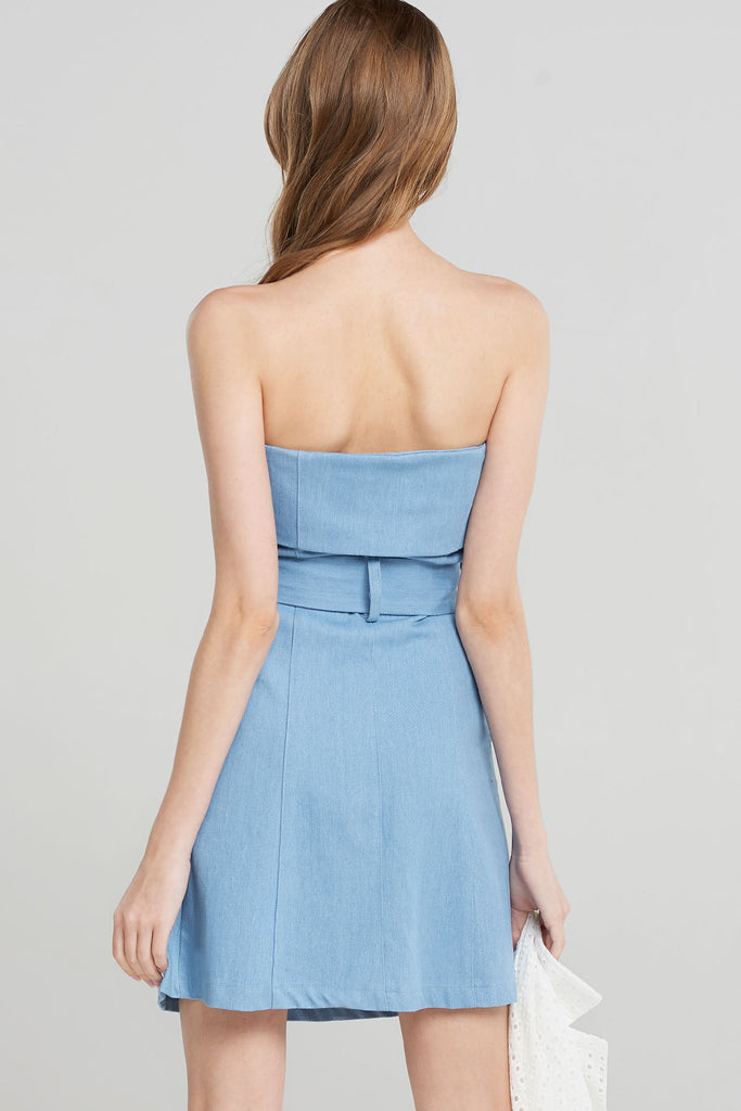 Rosalyn Denim Belted Tube Dress-Skyblue