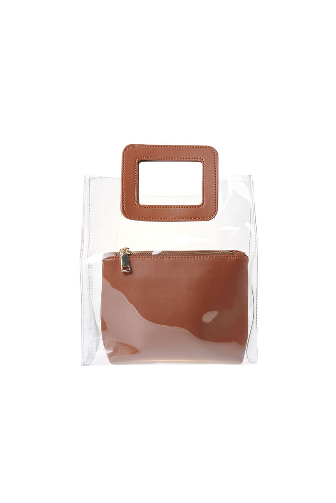 Clear Square Handle Tote Bag-Brown