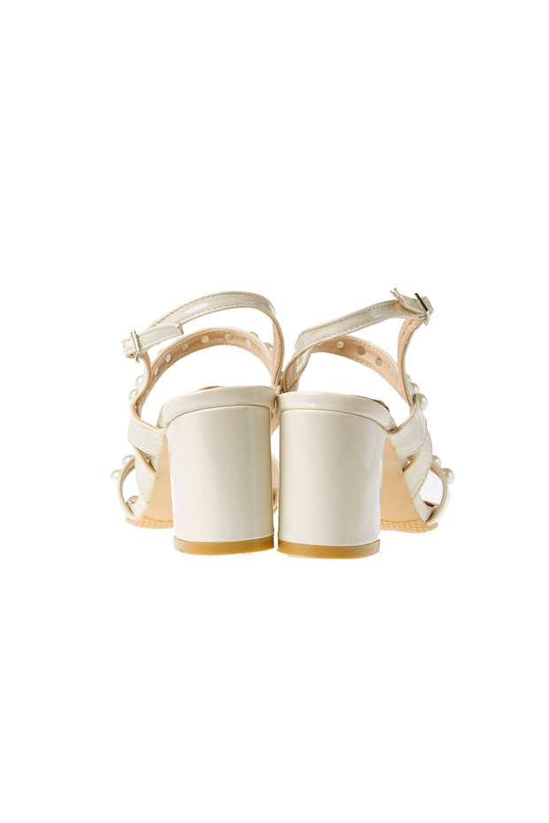 Embedded Pearl Strap Heels-Ivory