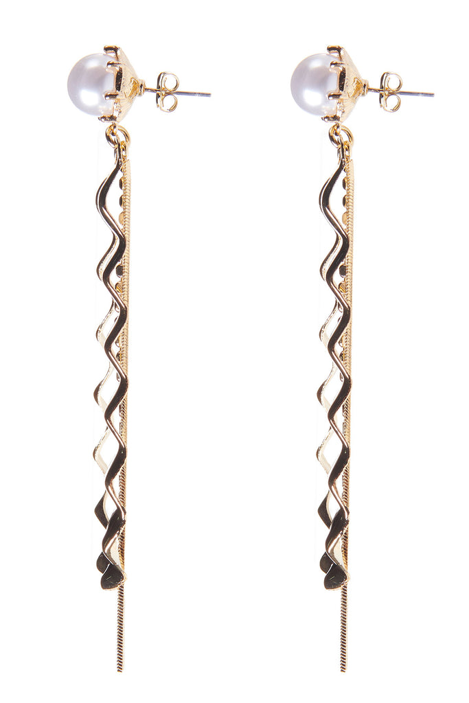 Pearl Zigzag Waterdrop Earrings-Gold