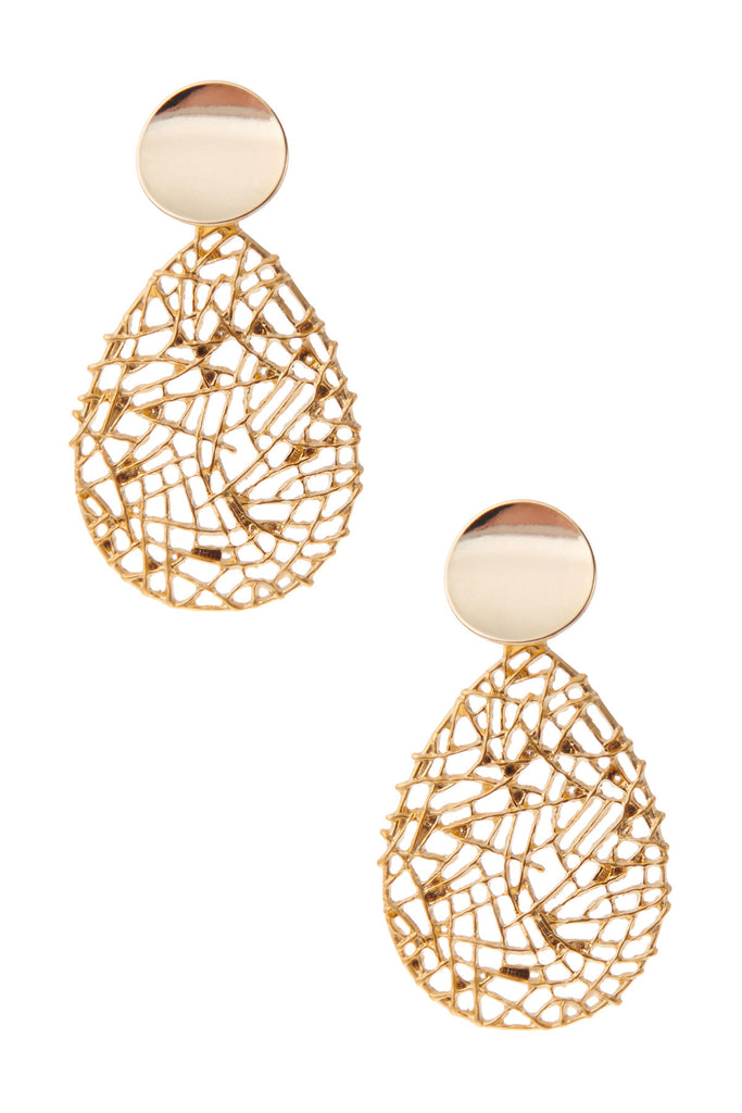 Webbed Leaf Pendant Earrings-Gold