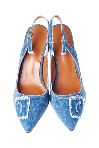 Denim Stiletto Heels-Blue