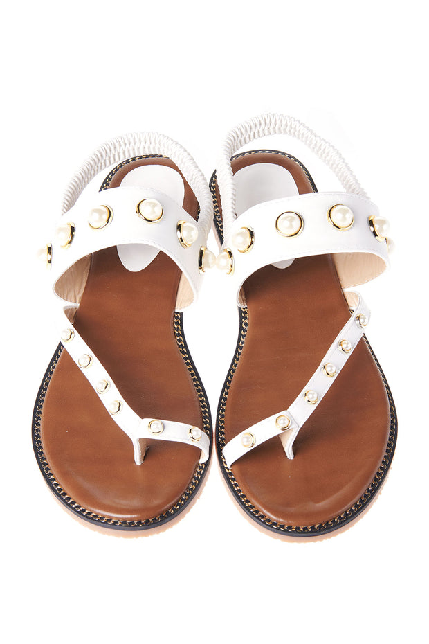Pearl Point Flip Flop Sandals-White