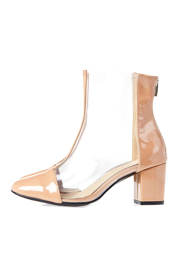 Center Line Clear Heels-Beige