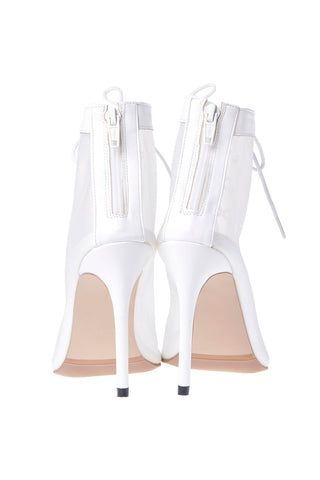 Lace-up Mesh Walker High Heels-White