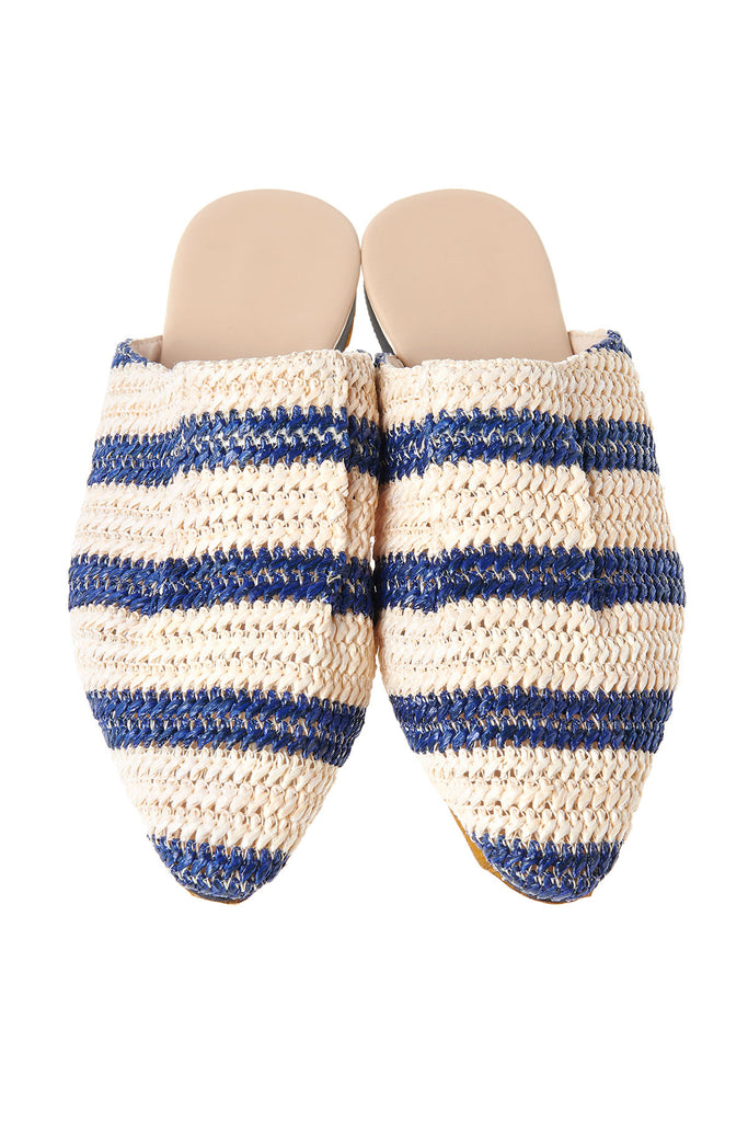 Straw Two-tone Striped Slippers-Blue