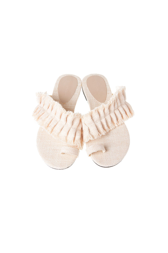 Linen Ruffle Flat Slippers-2 Colors