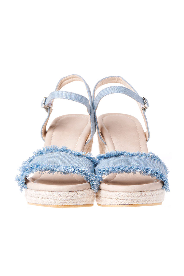 Frayed Denim Wedge Heels-Skyblue