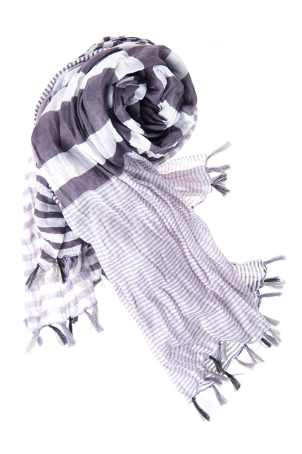 Stripe Cotton Scarf-Gray