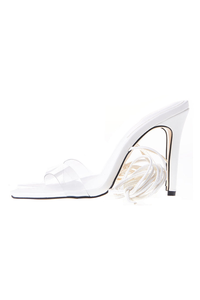 Multi Wrap Ankle Strap Heels-White