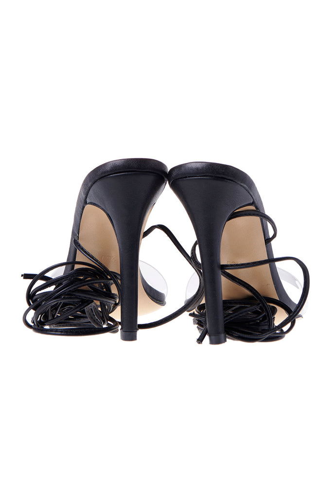 Multi Wrap Ankle Strap Heels-Black
