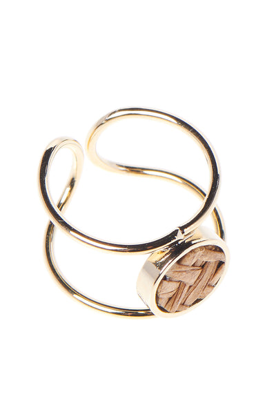 storets.com Double Loop Weaved Circle Ring-Brown