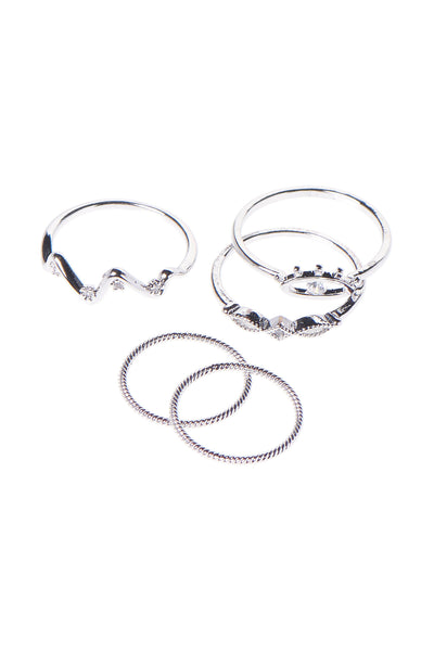 Eye Ring Set of 5-Silver