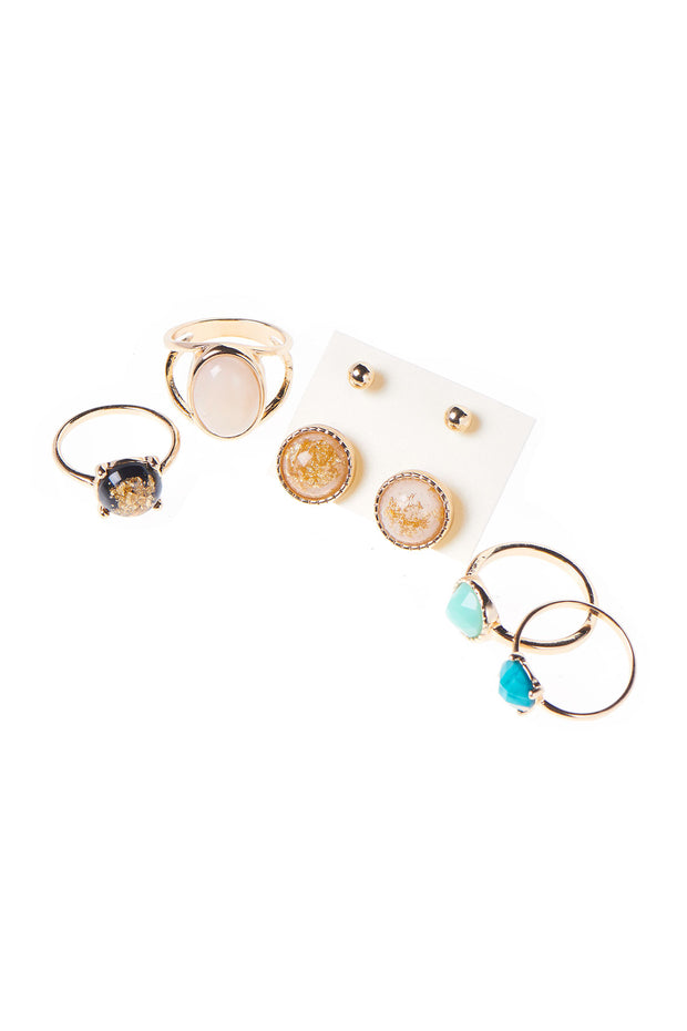 4 Jewelled Rings 2 Earrings Set-Gold